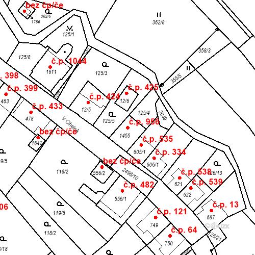 Katastrální mapa Stavební objekt Luhačovice 956, Luhačovice
