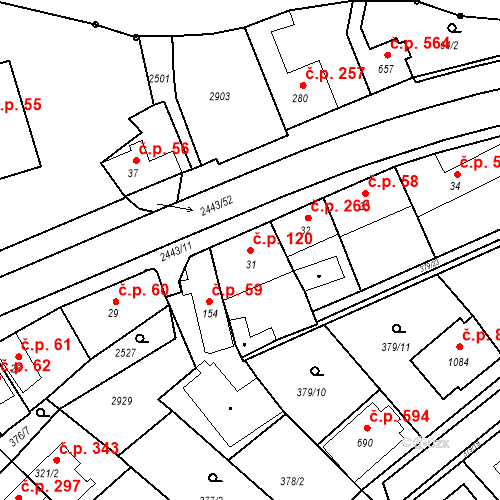 Katastrální mapa Stavební objekt Luhačovice 120, Luhačovice