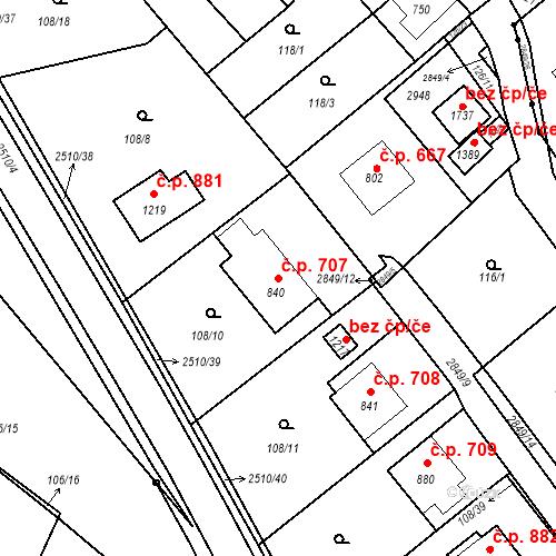 Katastrální mapa Stavební objekt Luhačovice 707, Luhačovice