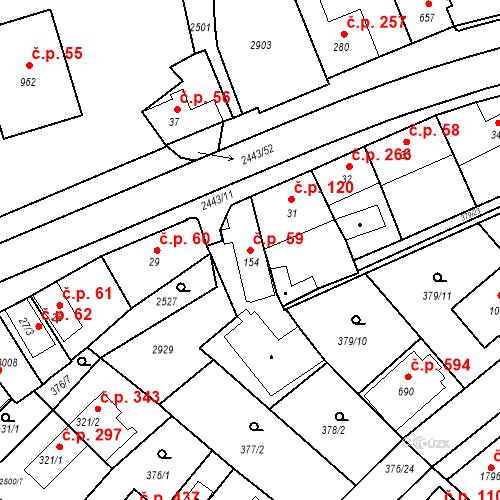 Katastrální mapa Stavební objekt Luhačovice 59, Luhačovice