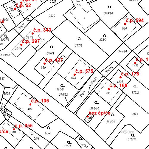 Katastrální mapa Stavební objekt Luhačovice 575, Luhačovice