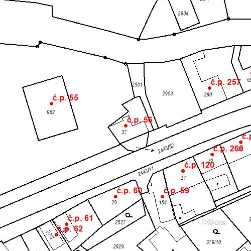 Katastrální mapa Stavební objekt Luhačovice 56, Luhačovice