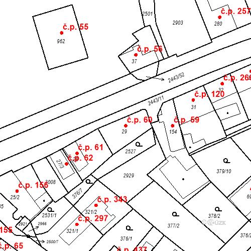Katastrální mapa Stavební objekt Luhačovice 60, Luhačovice