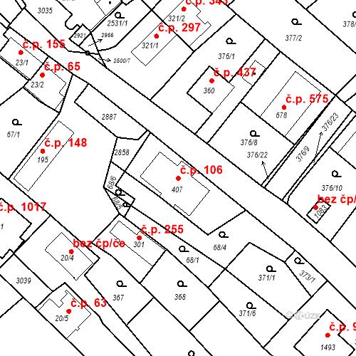 Katastrální mapa Stavební objekt Luhačovice 106, Luhačovice