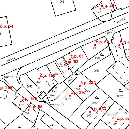 Katastrální mapa Stavební objekt Luhačovice 62, Luhačovice