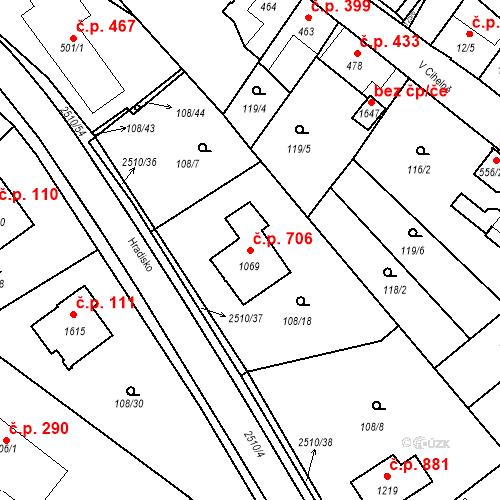 Katastrální mapa Stavební objekt Luhačovice 706, Luhačovice