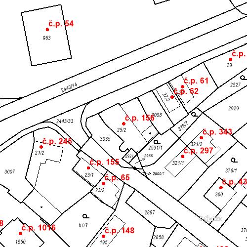Katastrální mapa Stavební objekt Luhačovice 156, Luhačovice