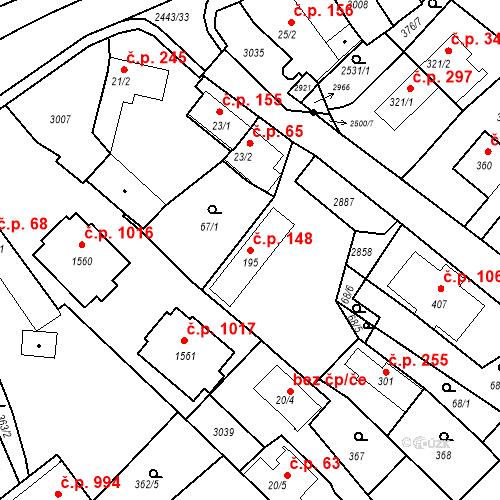 Katastrální mapa Stavební objekt Luhačovice 148, Luhačovice