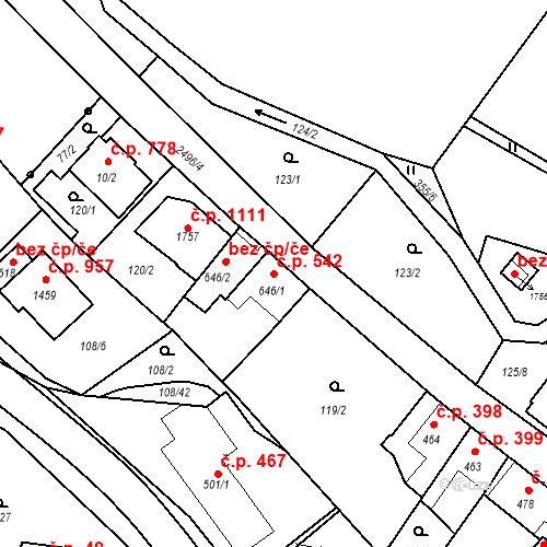 Katastrální mapa Stavební objekt Luhačovice 542, Luhačovice
