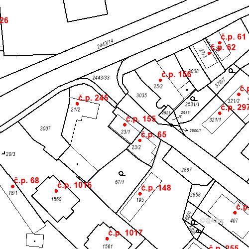 Katastrální mapa Stavební objekt Luhačovice 155, Luhačovice