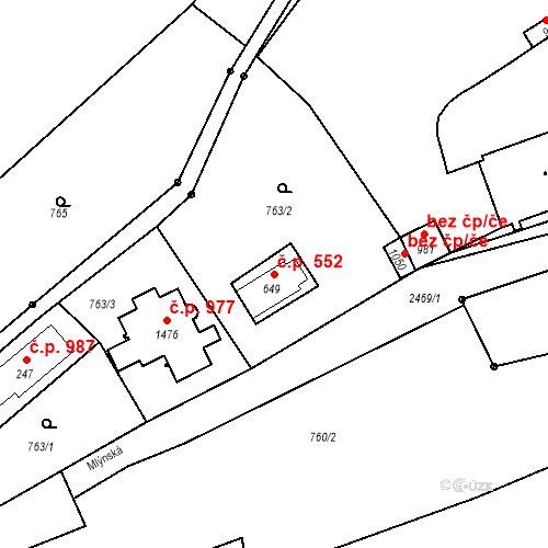 Katastrální mapa Stavební objekt Luhačovice 552, Luhačovice