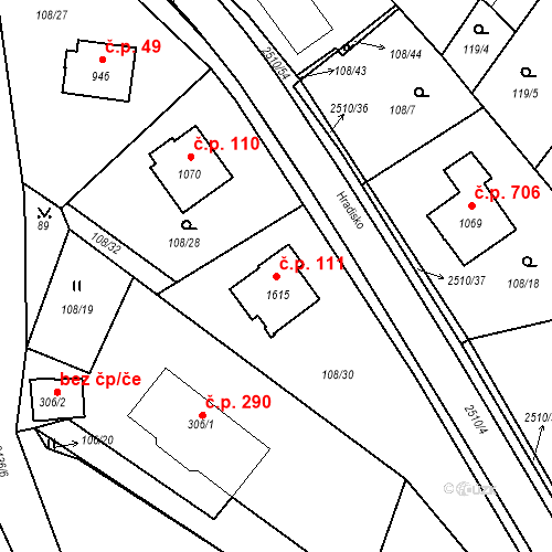 Katastrální mapa Stavební objekt Luhačovice 111, Luhačovice