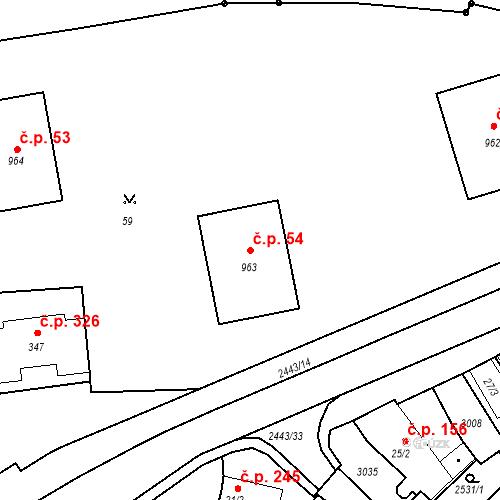 Katastrální mapa Stavební objekt Luhačovice 54, Luhačovice