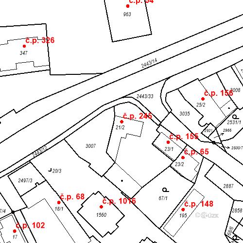 Katastrální mapa Stavební objekt Luhačovice 245, Luhačovice