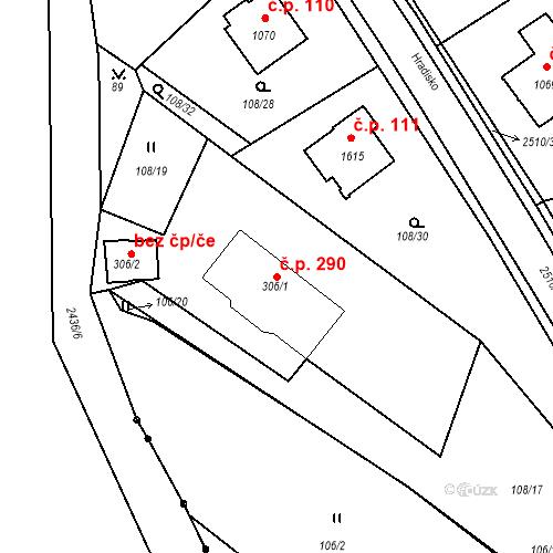 Katastrální mapa Stavební objekt Luhačovice 290, Luhačovice