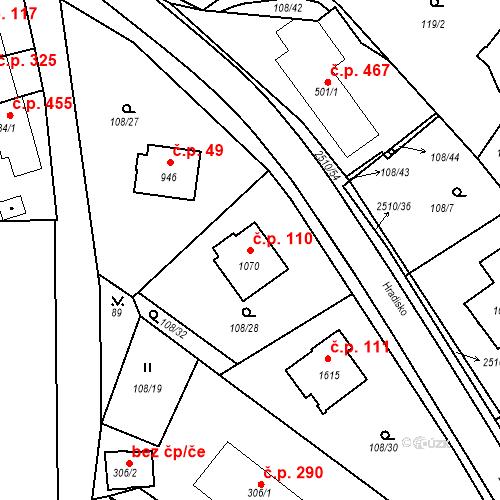 Katastrální mapa Stavební objekt Luhačovice 110, Luhačovice