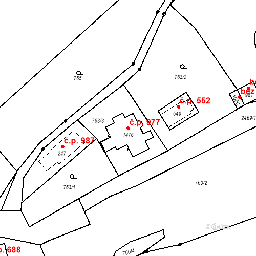 Katastrální mapa Stavební objekt Luhačovice 977, Luhačovice