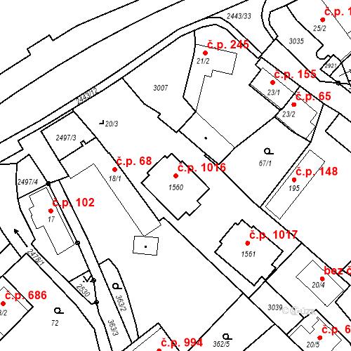Katastrální mapa Stavební objekt Luhačovice 1016, Luhačovice