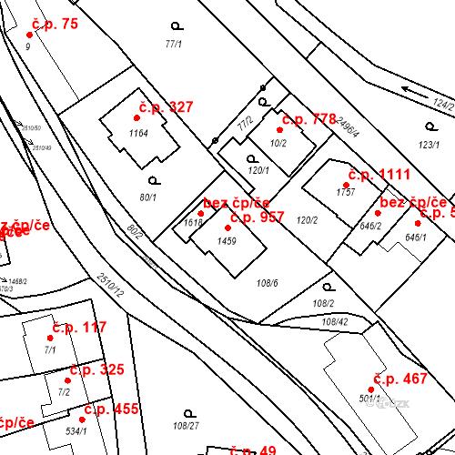 Katastrální mapa Stavební objekt Luhačovice 957, Luhačovice