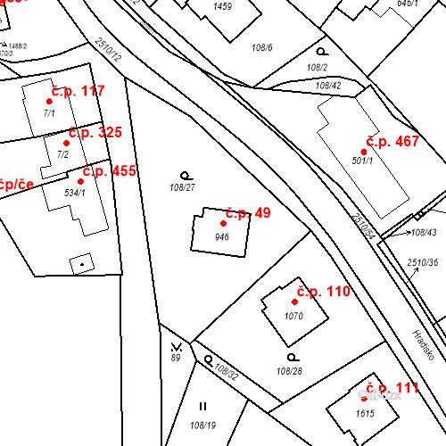 Katastrální mapa Stavební objekt Luhačovice 49, Luhačovice