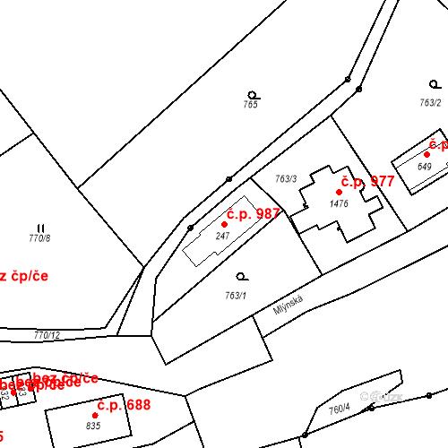 Katastrální mapa Stavební objekt Luhačovice 987, Luhačovice