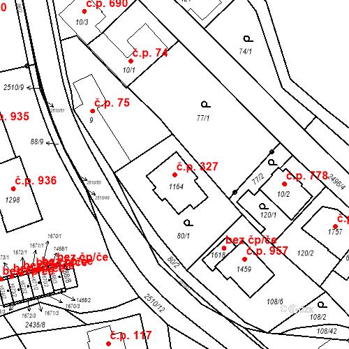 Katastrální mapa Stavební objekt Luhačovice 327, Luhačovice