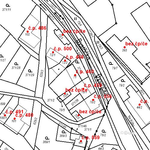 Katastrální mapa Stavební objekt Chvalčov 460, Chvalčov