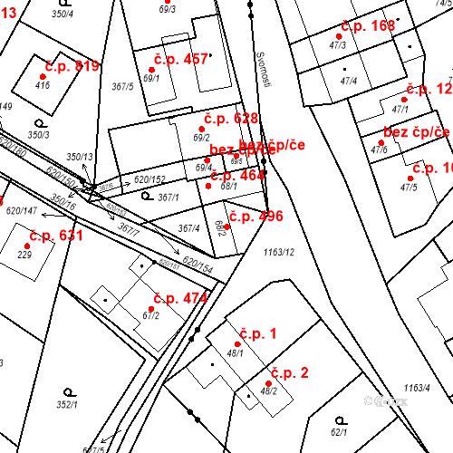 Katastrální mapa Stavební objekt Chvalčov 496, Chvalčov
