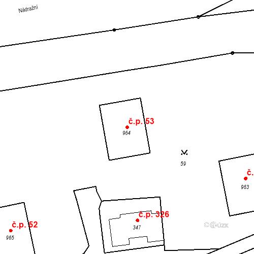 Katastrální mapa Stavební objekt Luhačovice 53, Luhačovice