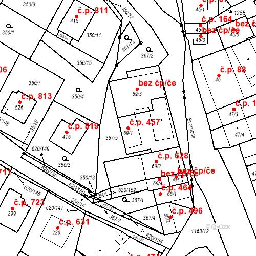 Katastrální mapa Stavební objekt Chvalčov 457, Chvalčov