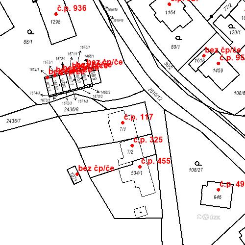 Katastrální mapa Stavební objekt Luhačovice 117, Luhačovice