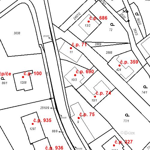 Katastrální mapa Stavební objekt Luhačovice 690, Luhačovice