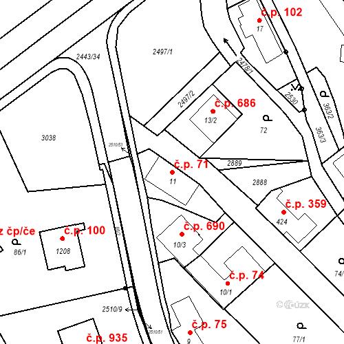 Katastrální mapa Stavební objekt Luhačovice 71, Luhačovice