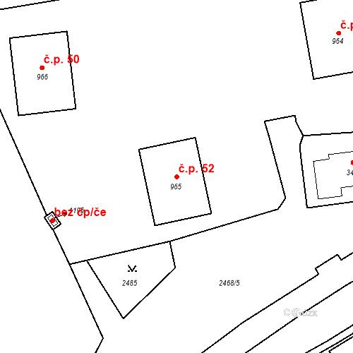 Katastrální mapa Stavební objekt Luhačovice 52, Luhačovice