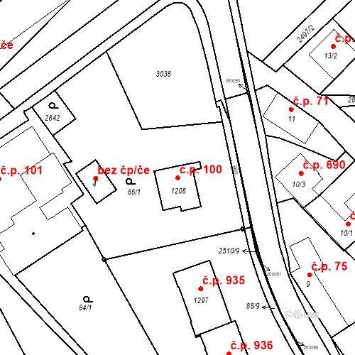 Katastrální mapa Stavební objekt Luhačovice 100, Luhačovice