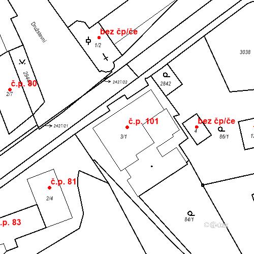 Katastrální mapa Stavební objekt Luhačovice 101, Luhačovice