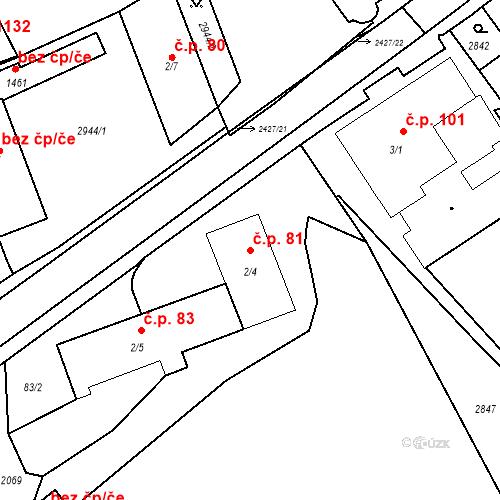 Katastrální mapa Stavební objekt Luhačovice 81, Luhačovice