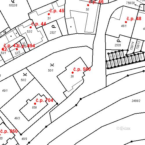 Katastrální mapa Stavební objekt Luhačovice 560, Luhačovice