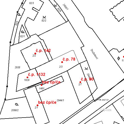 Katastrální mapa Stavební objekt Luhačovice 78, Luhačovice