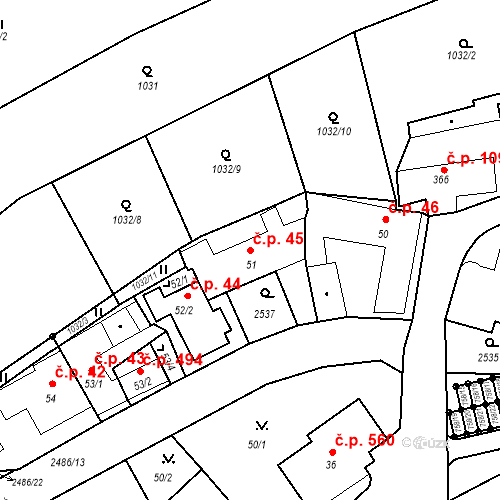 Katastrální mapa Stavební objekt Luhačovice 45, Luhačovice