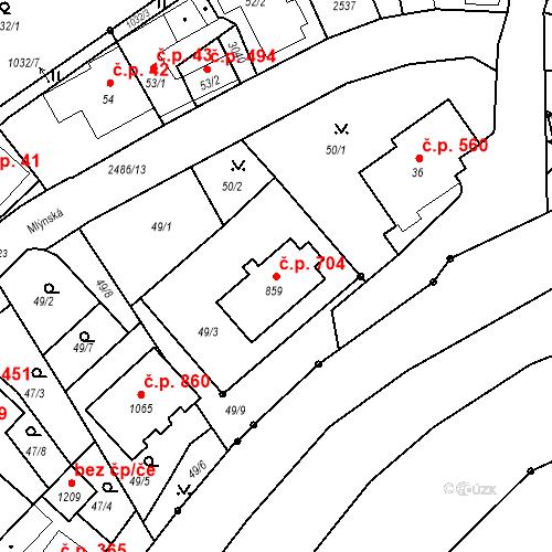 Katastrální mapa Stavební objekt Luhačovice 704, Luhačovice