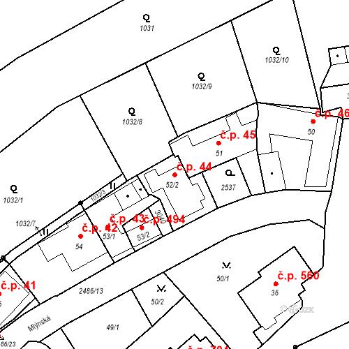 Katastrální mapa Stavební objekt Luhačovice 44, Luhačovice
