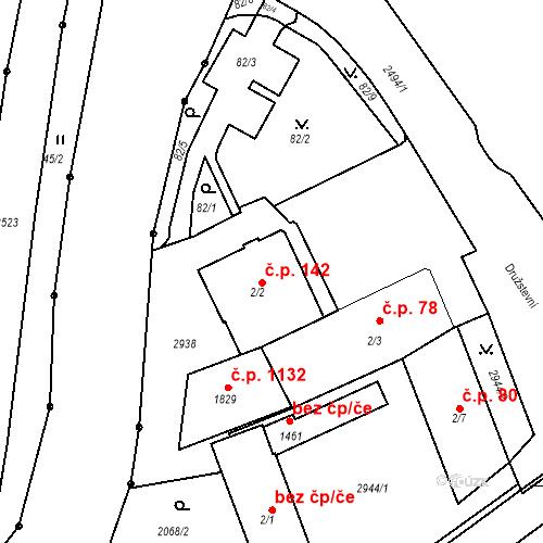 Katastrální mapa Stavební objekt Luhačovice 142, Luhačovice