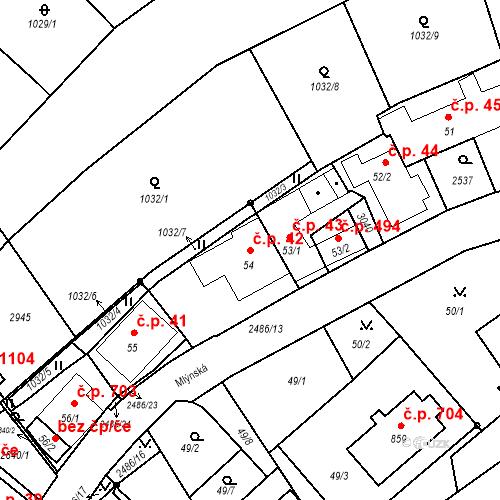 Katastrální mapa Stavební objekt Luhačovice 42, Luhačovice