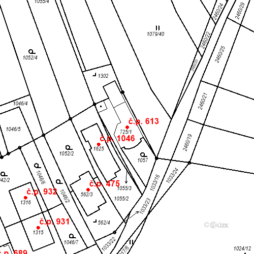 Katastrální mapa Stavební objekt Luhačovice 613, Luhačovice