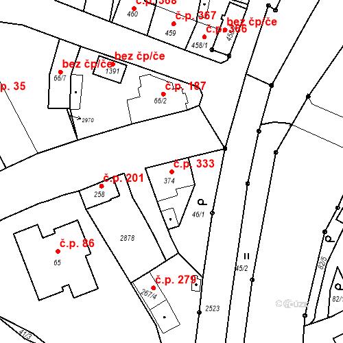 Katastrální mapa Stavební objekt Luhačovice 333, Luhačovice