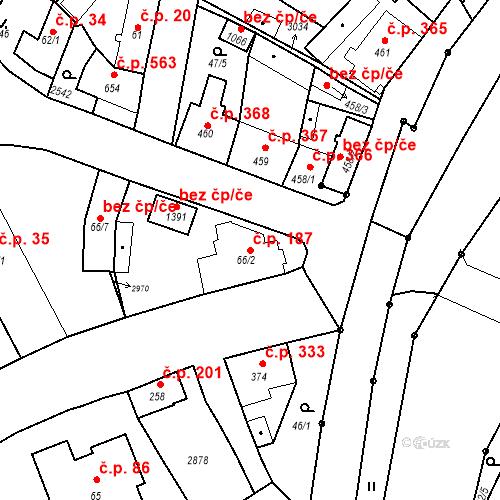 Katastrální mapa Stavební objekt Luhačovice 187, Luhačovice