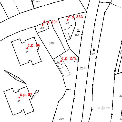 Katastrální mapa Stavební objekt Luhačovice 279, Luhačovice