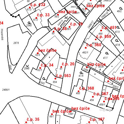 Katastrální mapa Stavební objekt Luhačovice 20, Luhačovice