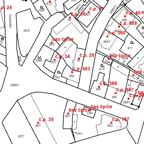 Katastrální mapa Stavební objekt Luhačovice 563, Luhačovice